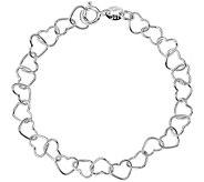Italian Silver Heart Link Bracelet Sterling, 2.3g - J379856