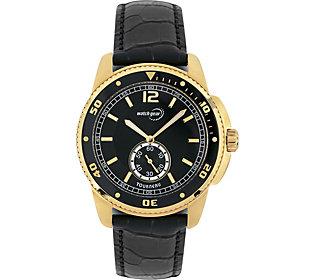 Tourneau Men's Goldtone Black Leather Strap Analog Watch