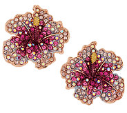 Joan Rivers Elegance in Bloom Pave Hibiscus Earrings - J290457