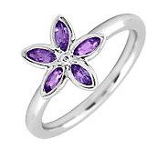 Simply Stacks Sterling & Amethyst Romantic Flower Ring - J299457