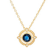 Judith Ripka 14K Gold Ruby, Emerald or Sapphire Pendant w/Chain - J335357