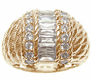 Judith Ripka Sterling/14K-Clad Channel-Set Baguette Dome Ring - J337957