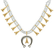 American West Sterling Silver & Brass Bold Squash Blossom Necklace - J347057