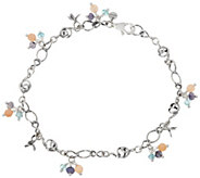 Sterling Silver Gemstone Beads Anklet by Or Paz - J349057
