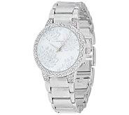 Isaac Mizrahi Live! Etched Floral Design Bracelet Watch - J351857