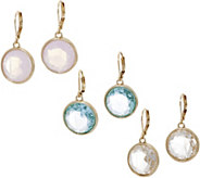 Joan Rivers Set of 3 Bezel Set Crystal Lever Back Earrings - J352857
