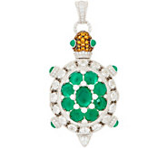 Judith Ripka Sterling Silver 4.55 cttw Tilly Turtle Gemstone Locket Enhancer - J355357