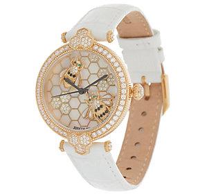 Judith Ripka Stainless Steel Goldtone BumbleBeeGemstone Watch