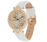 Judith Ripka Stainless Steel Goldtone Bumble Bee Gemstone Watch - J355957