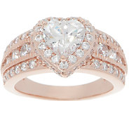 Diamonique 100 Facet Halo Design Ring, 14K Rose Gold Clad - J357657