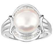 Honora Cultured Pearl 10mm & Diamond ScallopedSterling Ring - J383857