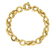 Italian Gold 14K Textured Cable Link Bracelet,6.9g - J384957