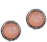 Artisan Crafted Sterling Silver Peach MoonstoneStud Earrings - J385157