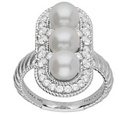 Judith Ripka Cultured Pearl with Diamonique Halo Ring - J385357