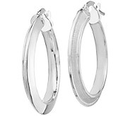 Italian Gold Grooved Brushed Hoop Earrings, 14K - J385557