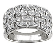 Diamonique Sterling Silver Woven Band Ring - J385657