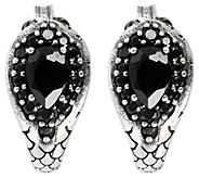 Mistero Sterling Black Spinel Pear-Shaped J-Hoop Earrings - J386557