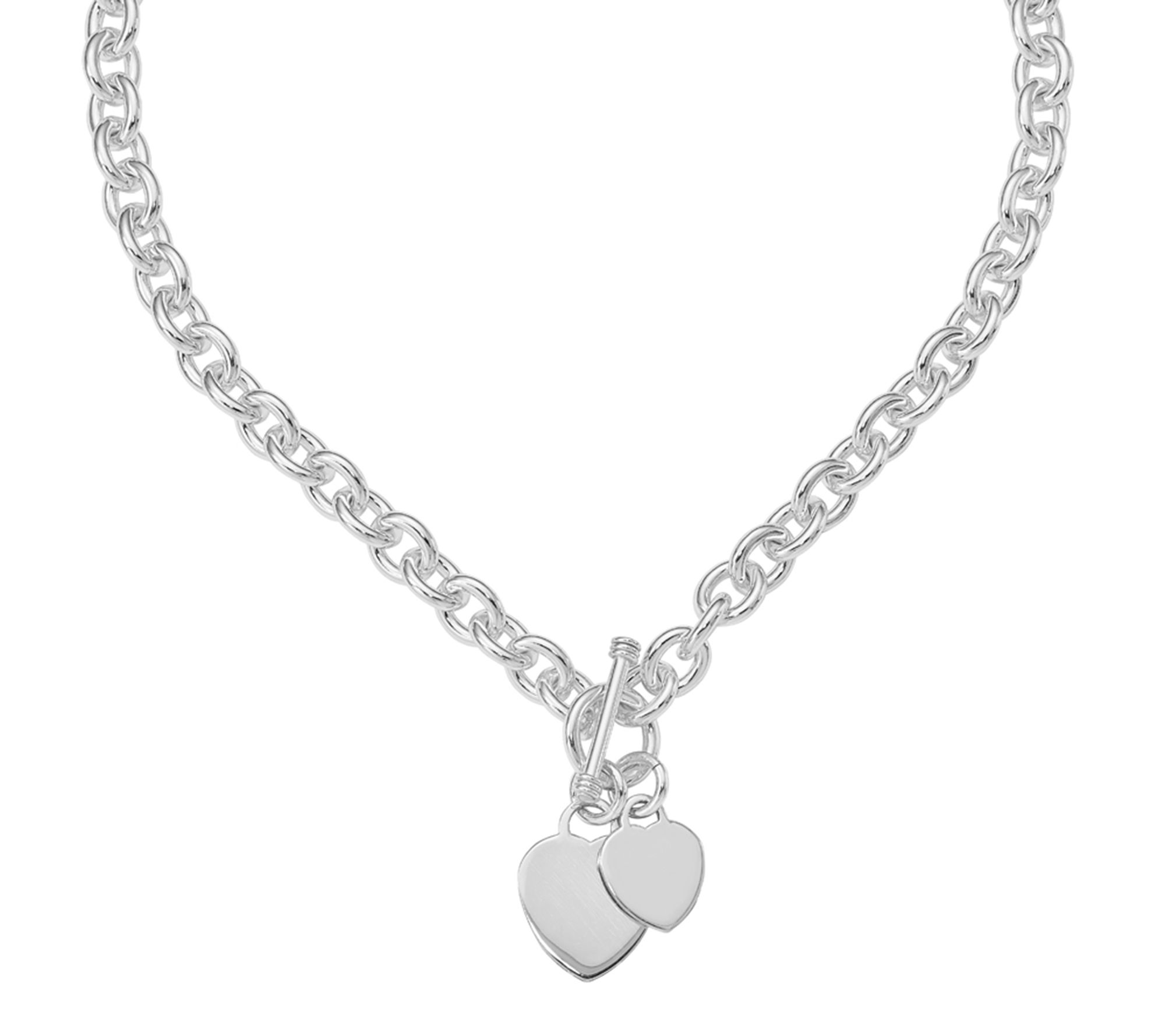 Sterling Double Heart Toggle Necklace 97 9g Qvc Com