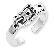 Sterling Antiqued Buckle Toe Ring - J111458