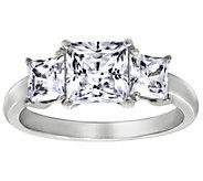 Diamonique 2.50 cttw 3 Stone Princess Cut Ring,Platinum Clad - J111658