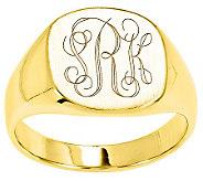 Personalized Satin Cushion Signet Ring, 14K Gold - J310958