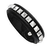 Stainless Steel Adjustable Black Leather Stud Bracelet - J313258
