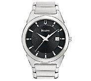 Bulova Mens Stainless Steel Black Dial Watch - J316458