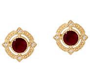 Judith Ripka 14K Gold Ruby, Emerald or Sapphire Stud Earrings - J335358