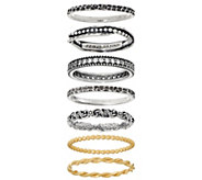 Or Paz Sterling Silver Set of 7 Stack Rings - J349058