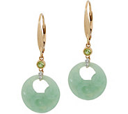 Carved Jade Lever Back Earrings 14K Gold - J349958