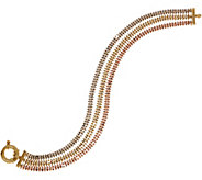 Imperial Gold 7-1/4 Wheat Tri-Color Bracelet, 14K Gold, 15.8g - J354858
