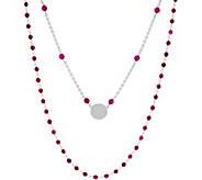 Italian Silver Circle Motif Gemstone Necklace Set - J355958