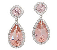 Diamonique Simulated Morganite Drop Earrings, Sterling Silver - J356158