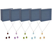 Set of 5 Gemstone Stud Earrings & Necklaces, Sterling Silver - J358158