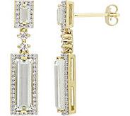 3.35 cttw Green Amethyst & 3/10 cttw Diamond Earrings, 14K - J377758