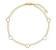 Italian Gold Two-Tone Heart Stations Anklet 14K, 1.6g - J381458