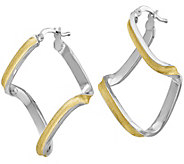 Italian Silver Two-Tone Twisted Hoop Earrings - J382958