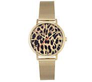 Vince Camuto Womens Leopard Goldtone Mesh Bracelet Watch - J383458