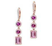 14K Gold 3.15 cttw Pink Tourmaline & 1/2 cttw Diamond Earrings - J383658