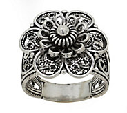 Sterling Artisan Crafted Floral Filigree Ring - J390758