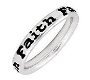Simply Stacks Sterling Polished & Epoxy EnamelFaith Ring - J299159