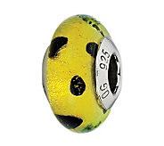 Prerogatives Lime with Black Dots Italian Murano Glass Bead - J300359