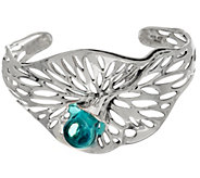 Kalos by Hagit Sterling Silver Blue Glass Openwork Cuff - J328459