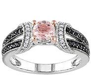 Morganite & Black Diamond Split Shank Ring, Sterling - J336759