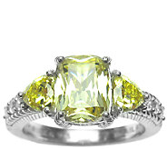 Judith Ripka Sterling 3-Stone Yellow DiamoniqueRing - J337959
