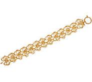 Italian Gold 8 Woven Double Row Bracelet 14K Gold, 12.2g - J349559