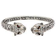 JAI Sterling Silver Double Head Leopard Hinged Cuff Bracelet - J350259