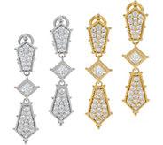Judith Ripka Sterling or 14K Clad Diamonique Drop Earrings 2.45 cttw - J352659