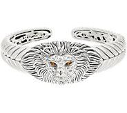 JAI Sterling Silver & Gemstone Lion Head Cuff, 58.8g - J355659