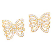 Diamonique Pave Butterfly Stud Earrings, Sterling Silver - J357659